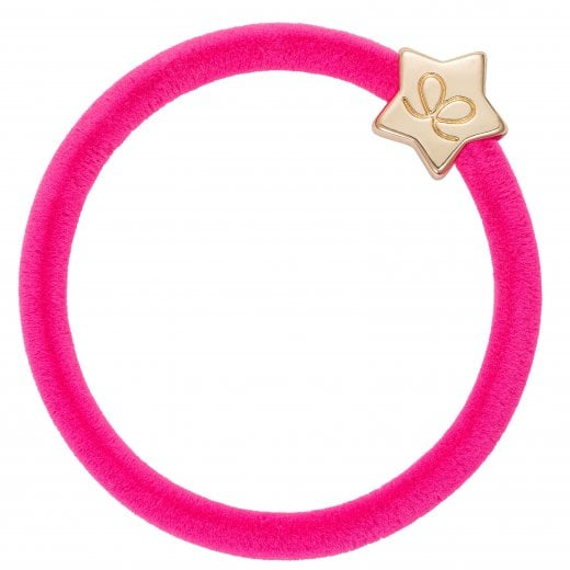 By Eloise Hair Tie BY ELOISE in Neon Pink Velvet with Gold Star