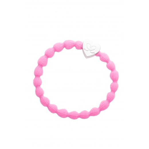 By Eloise Hair Tie BY ELOISE in Neon Pink with Silver Heart