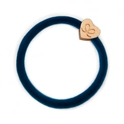 Hair Tie BY ELOISE in Petrol Velvet with Gold Heart
