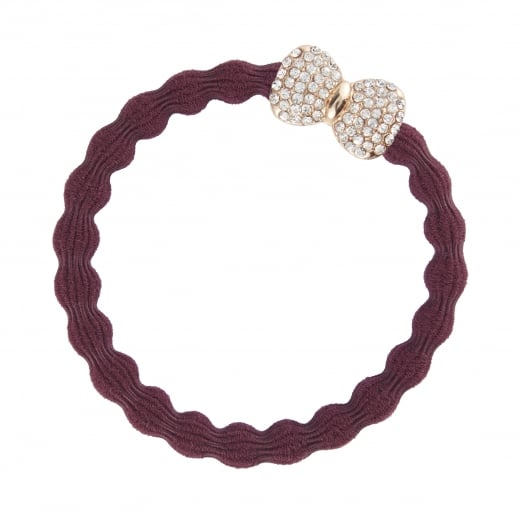 By Eloise Hair Tie BY ELOISE in Plum with a Diamante Bow