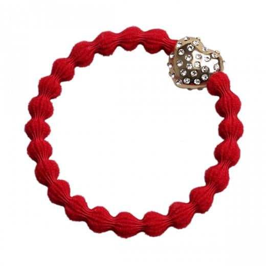 By Eloise Hair Tie BY ELOISE in Red with a Diamante Bubble Heart