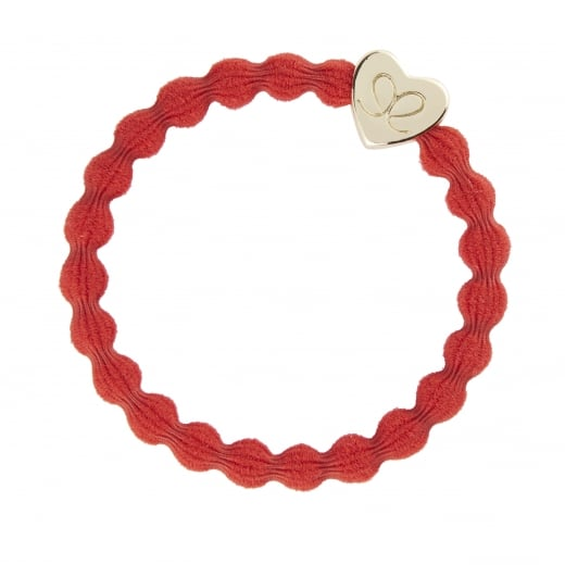By Eloise Hair Tie BY ELOISE in Red with Gold Heart