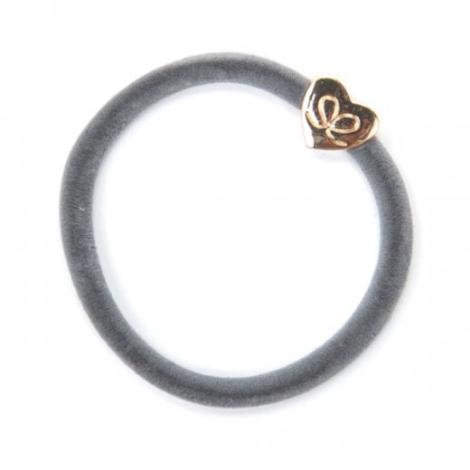 By Eloise Hair Tie BY ELOISE in Storm Grey Velvet with a Gold Heart