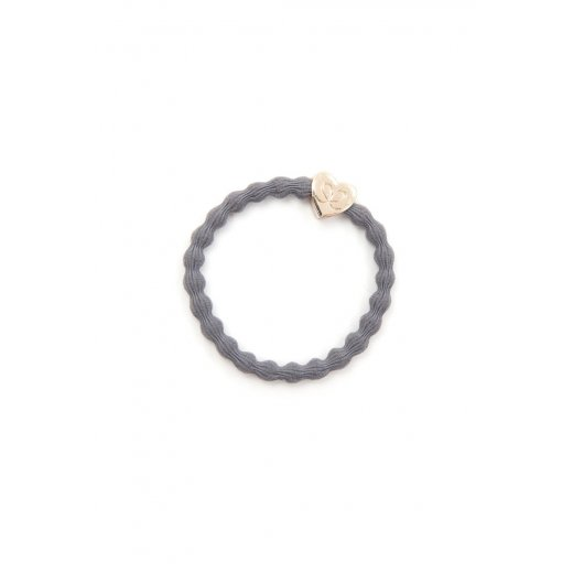 By Eloise Hair Tie BY ELOISE in Storm Grey with Gold Heart