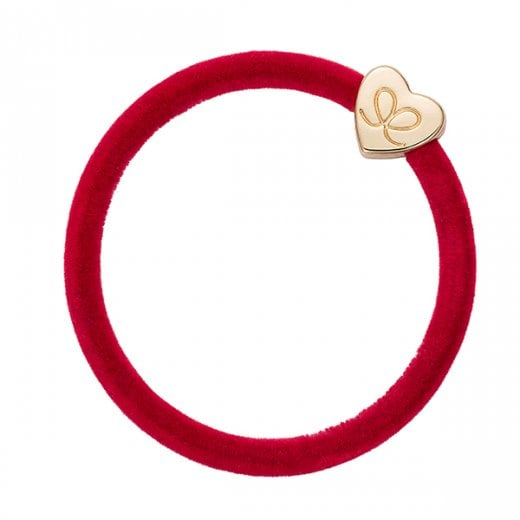 By Eloise Hair Tie BY ELOISE in Strawberry Red Velvet with Gold Heart