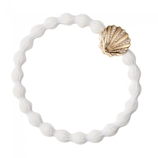 By Eloise Hair Tie BY ELOISE in White with a Diamante Sea Shell