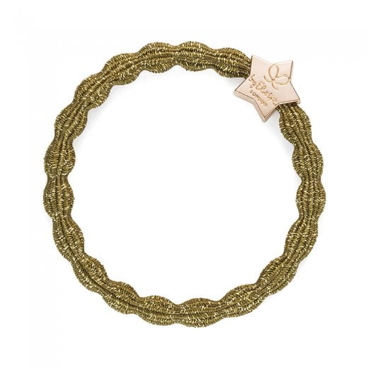 By Eloise Hair Tie BY ELOISE Metallic Olive with Gold Star