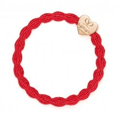 Hair Tie BY ELOISE Metallic Red with Gold Heart