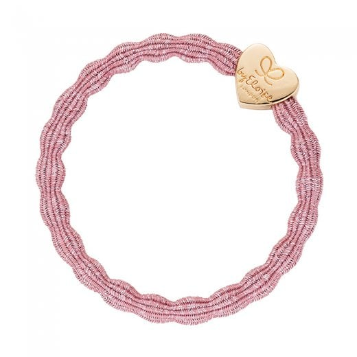By Eloise Hair Tie BY ELOISE Metallic Rose Pink with Gold Star