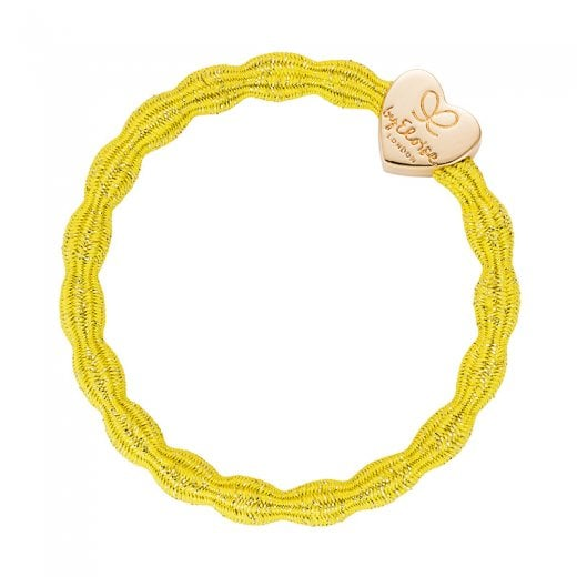By Eloise Hair Tie BY ELOISE Metallic Sunshine Yellow with Gold Heart