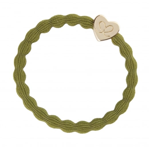 By Eloise Hair Tie BY ELOISE Olive Green with Gold Heart