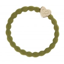 Hair Tie BY ELOISE Olive Green with Gold Heart