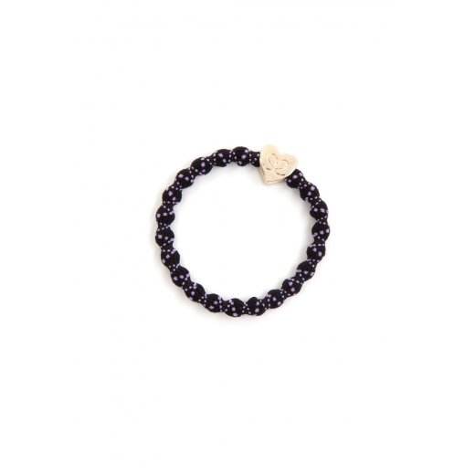 By Eloise Hair Tie BY ELOISE Purple in Black with Gold Heart