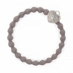 Hair Tie BY ELOISE - Silver Heart Lock - Cloudy Grey