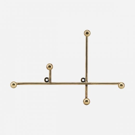 House Doctor Metal Coat Rack - Antique Brass