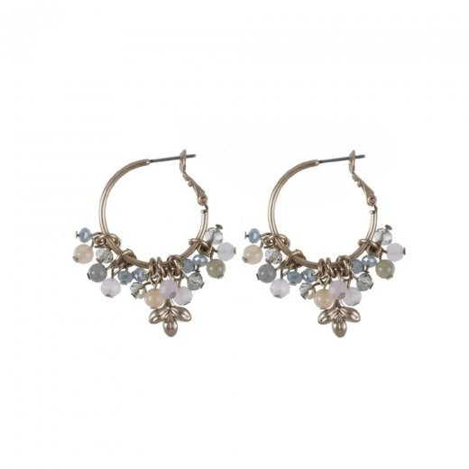 Hultquist Jewellery Rose Gold Hoop Earrings With Hanging Stones