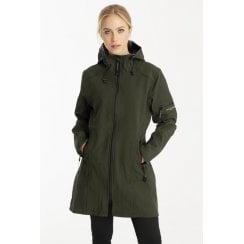 Ilse Jacobsen 3/4 Length Softshell Rain Coat - Army