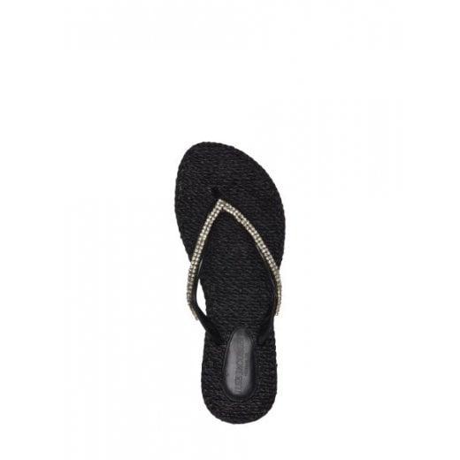 Ilse Jacobsen Flip Flops with Sequins - Black