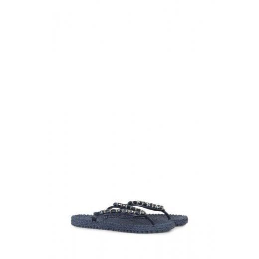 Ilse Jacobsen Flip Flops with Sequins - Indigo