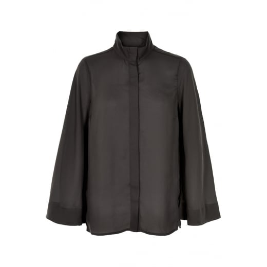 InWear High Neck Shirt with Flared Sleeves - Black