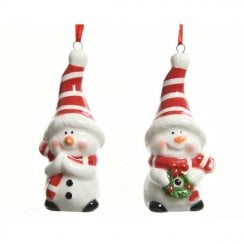 Danish Collection Clapping Snowman Figure With Hanging String - White