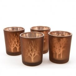 Danish Collection Glass Tealight Holder With a Tree Pattern - Truffle