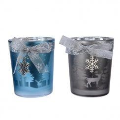 Danish Collection Glass Tealight Holder With Snowflake Ribbon - Blue
