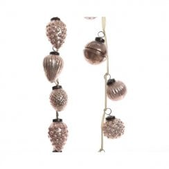 Danish Collection Hanging Baubles on Cream Velvet Ribbon - Blush Pink
