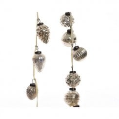 Danish Collection Pinecone Bauble Garland with Cream Velvet Ribbon - Natural Linen