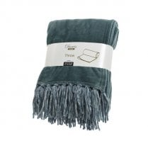 Danish Collection Polyester Throw Flannel with Tassels - Eucalyptus