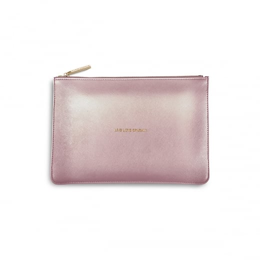 Katie Loxton Live Love Sparkle Perfect Pouch - Metallic Pink