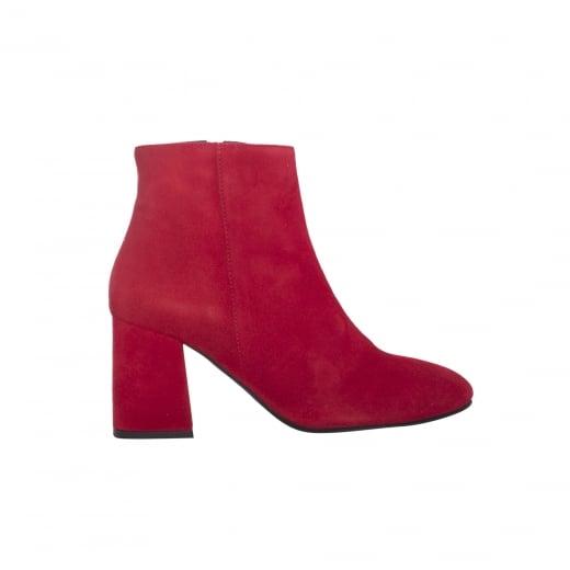 LBDK Red Suede Boots - Block Heel