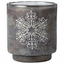 Lene Bjerre Large Frostine Candle Holder - Smoked Grey