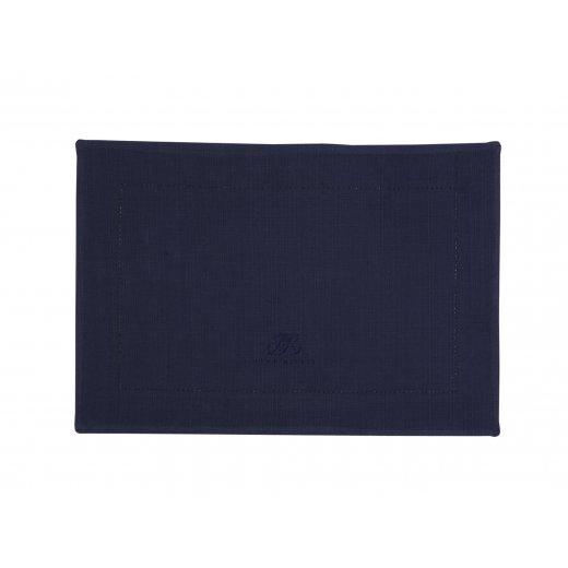 Lene Bjerre Placemat hemstitch 48x34cm BARK BLUE