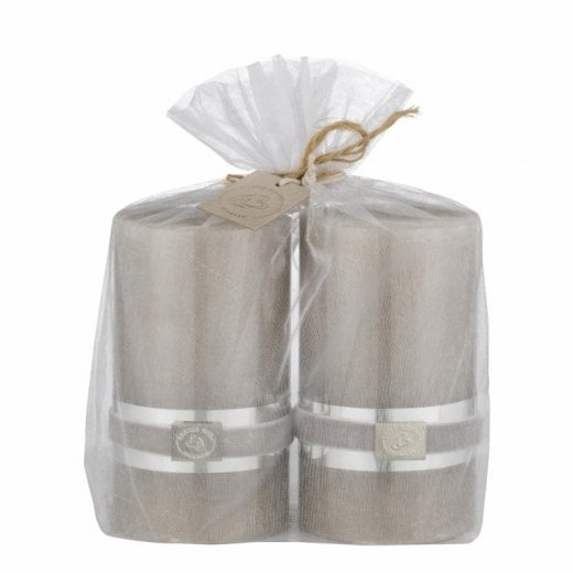 Lene Bjerre Rustic Candle Gift Set/2 Silver Grey H12.5CM