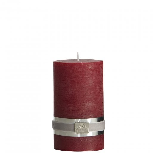 Lene Bjerre Rustic Candle Medium - Dark Red H12.5cm