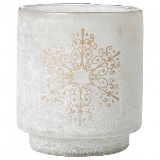 Lene Bjerre Tall Frostine Candle Holder - White