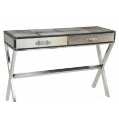 Light and Living Cowhide Console