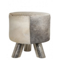 Light and Living Cowhide Footstool