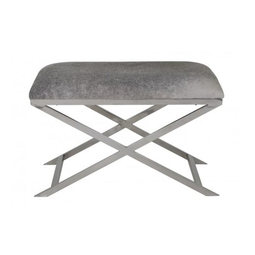 Danish Collection Light Grey Cowhide Stool