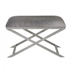 Light and Living Light Grey Cowhide Stool