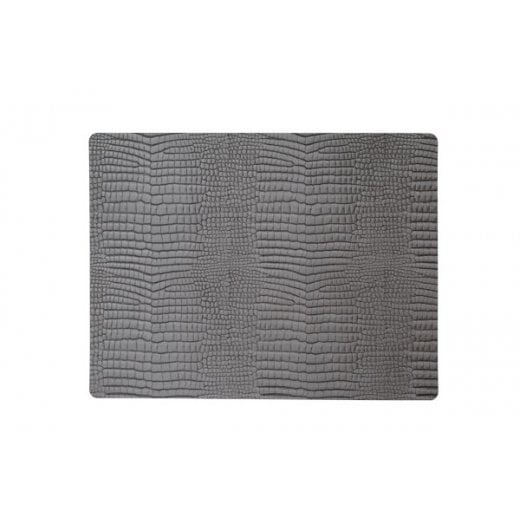 LindDNA Large Square Croco Table Mat - Silver-black