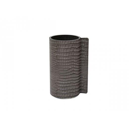 LindDNA Medium Croco Block Vase - Silver-black