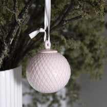 Lyngby Porcelain Bauble Rhombe - Soft Pink D6.5cm