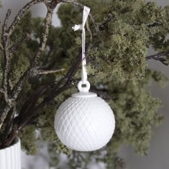 Lyngby Porcelain Bauble Rhombe- White