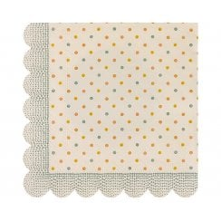 Maileg Dots Napkins With Scalloped Edge - Yellow