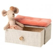 Maileg Little Sister Dancing Mouse in Daybed