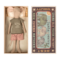 Maileg Medium Mouse in a Box - Boy