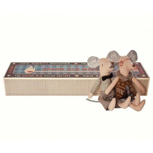 Maileg Mice in a Matchbox - Grandpa & Grandma