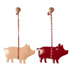 Maileg Pigs Ornament Set/2 - Red/PinkH 4.5cm